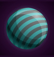 cosmic striped planet icon cartoon style vector image