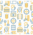 craft beer seamless pattern with thin line icons vector image