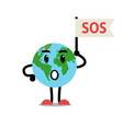 earth planet ask sos character vector image vector image