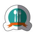 emblem cutlery tools icon vector image vector image
