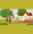 family horizontal banner garden cartoon style vector image vector image