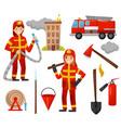 fireman and firefighting equipment set truck vector image