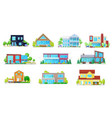 flat icons home house villa mansion and cottage vector image vector image