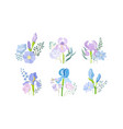 floral compositions with purple iris flower and vector image vector image