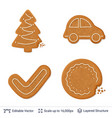 gingerbread cookies isolated on white vector image vector image