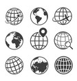 globe and earth planet black icon set vector image