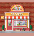 grocery store front with window and door vector image