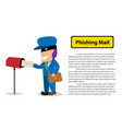 hacker send a phishing mail to victim vector image vector image