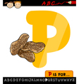 letter p with peanuts cartoon vector image vector image