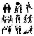 lover couple love proposal hug angry slap kick a vector image