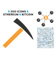 mining hammer flat icon with set vector image vector image