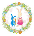mothers day greeting cardbaby rabbit gives mom vector image vector image