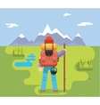 Mountain Travel Trip Vacation Backpaker Man Wood vector image vector image