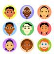 multiethnic avatars set in flat style vector image vector image