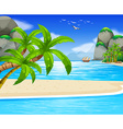 Ocean view with sail floating on water vector image vector image