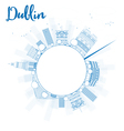 Outline Dublin Skyline with Blue Buildings vector image vector image