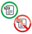 PDF file permission signs set vector image vector image
