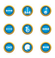 rush icons set flat style vector image vector image