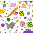 seamless kawaii child pattern with speech therapy vector image vector image