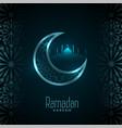 shiny ramadan kareem moon and mosque card design vector image vector image