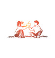 siblings relationship kids sharing delicious vector image