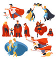 superhero family parents and kids with powers vector image vector image