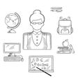 Teacher and education sketched icons vector image