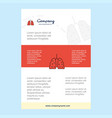 template layout for lungs comany profile annual vector image vector image