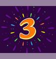 the violet 3 in middle fireworks vector image
