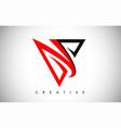 v black and red logo letter creative v letter vector image