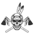 vintage monochrome indian warrior skull vector image vector image