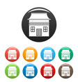 wood house icons set color vector image vector image