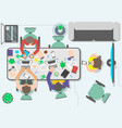 top view teamwork of business people in office vector image