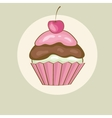 Birthday card with cherry cupcake vector image