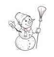a sketch a snowman with a bucket on his head vector image vector image