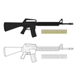 Assault rifle with bullets vector image vector image
