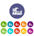 atomic reactor icons set color vector image vector image
