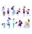 back to school set with children holding studying vector image