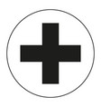 black and white medical cross symbol silhouette vector image