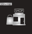black and white style icon shop package vector image vector image