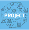 blue line flat circle project vector image