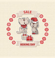 boxing day sale offer card with a cat box vector image vector image
