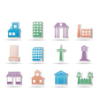 buildings and city icon vector image vector image