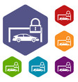 car and padlock icons set vector image vector image