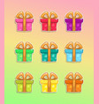 cartoon colorful gift box icons vector image