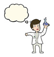 cartoon happy scientist with thought bubble vector image