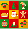 christmas symbols set in flat style vector image vector image