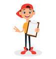cool boy in cap holding clipboard cute cartoon vector image