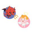 cute cartoon style little devil and angel vector image vector image