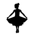 dancing girl in dress black silhouette vector image